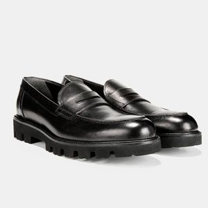 NEW Vince Black Leather Comrade Loafers